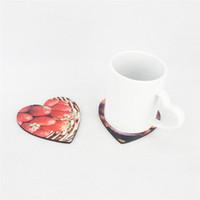 Almohadilla de la taza del corazón de la estera de la taza del regalo del bricolaje de madera gruesa para la taza de la taza de café para la decoración del escritorio del día de San Valentín WQ602