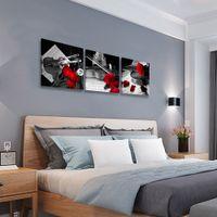 Röd ros blomma kanfas väggkonst violin musik konst vägg dekor musikinstrument svart och vitt modern konst för sovrum badrum kontor