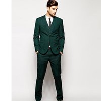 New Groomsmen Notch Lapel Groom men suit Tuxedos 2020 Green Two Buttons Men Suits Wedding Best Man Suit (Jacket+Pants+Tie+Vest)