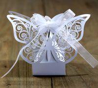 Butterfly Hollow Taglio Caramella Caramella Presentatori per Festa Wedding 2021 FAI DA TE Rosa Bianco 50pcs / lot Contenitori di regalo Borse di carta Borse di carta Confezione ALI8464