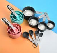 حار الطعام المنزل 8 قطع مجموعة قياس ملاعق أدوات كأس pp الخبز الملحقات الفولاذ المقاوم للصدأ البلاستيك مقبض أدوات المطبخ