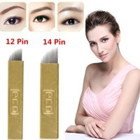 100 pcs 12 Pin 14 Pin Permanent Makeup Eyebrow Tatoo Blade M...