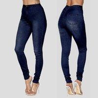 Moda Kadınlar Yüksek Bel Düğmesi Fermuar Cebi Anne Kot Elastik Rahat Skinny Denim Ince Kalem Pantolon Pantolon Vaqueros