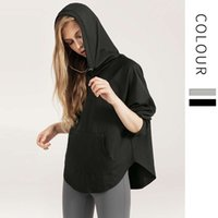 Lulu Yoga suit loose top casual Hooded Sweatshirt quick dry running outdoor long sleeve fitness sweater for women