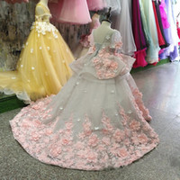 Immagine reale Nuove ragazze di fiore del vestito dal bambino vestiti della ragazza 3D del merletto fiori applicati Puffy Tulle di compleanno dei capretti abito su ordine
