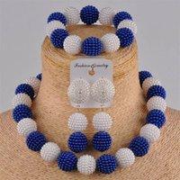 Laanc أحدث المجوهرات الخرز الأفريقي مجموعة الأزرق الملكي والأبيض مقلد بيرل قلادة الزفاف النيجيري al703 201222