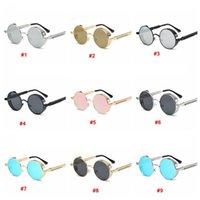 Métal Round Steampunk Sunglasses Hommes Femmes Mode Lunettes Rétro Cadre Vintage UV400 Lunettes de soleil extérieures Eyewear LJJA3782
