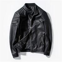 Lederjacken Mode Trend Langarm Cardigan Reißverschluss Motorradjacken Kleidung Männliche Frühling Casual Slim Oberbekleidung Mann PU Faux