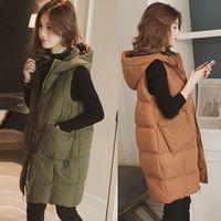 Autumn Winter Cotton Fashion Womens Plus Size Hoodie Waistcoat Vest Gilet Jacket Outwear Tops Warm Puffer Coat