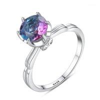 Belle nouvelle branchée S925 Argent Argent Rainbow Stone Anneaux pour femmes Anneaux de mariage Femme Mode Design Bijoux Anillos Mujer1