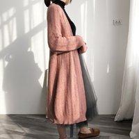 2021 새로운 가을 겨울 슬리브 느슨한 뜨개질 카디건 코트 긴 스웨터 점퍼 케이프 카사 코멘트 여성 Poncho PTLK