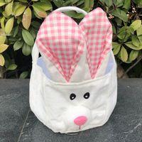 Paskalya tavşanı kulak sepetleri Paskalya yortusu yumurta avları sepet çanta çocuklar şeker çanta kova hediye çantaları tuval saklama çantası lla311