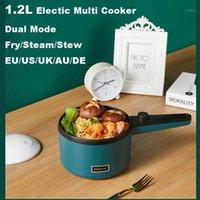 220V 1.2L mini portátil de arroz elétrico fogão antiaderente multi fogão mini hot pote para escritórios de viagem frigideira escolar EU / AU / UK / US / DE1
