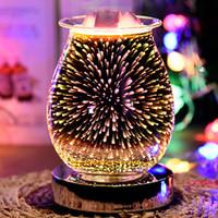 Ночные огни, восковой расплав более теплые 3D стекло электрические свеча ароматные горелки горел свет для домашнего офиса гостиная спальня декор