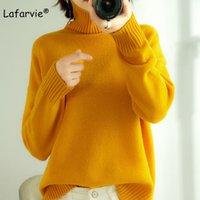 Maglioni da donna Lafarvie Korean TurtleNeck Maglione di lana Donne allentati calda spessa pullover roupas femininas 2021 inverno sovradimensionato a maglia