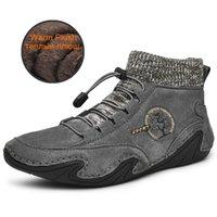 Botas AGSan invierno de los hombres zapatillas de deporte del cuero genuino botas del tobillo de alta Top zapatillas de deporte al aire libre atan para arriba Calzado tamaño grande de 48 47 felpa de calzado 201110