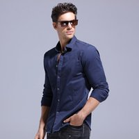 Camisas casuales de los hombres 2021 primavera de calidad superior de la marca de la marca 100% algodón camisa hombres slim fit jeans masculino manga larga