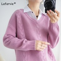 Lafarvie scollo a V Maglione Donne Mulheres Pullover Di spessore allentato coreano rosa viola invernali vestiti oversize a maniche lunghe S-XXL
