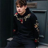 Цветочные вышивки осень толстовки для мужчин толстовки с капюшоном Pullover 2XL Cauretity Tracksuits мальчик мода новый случайный
