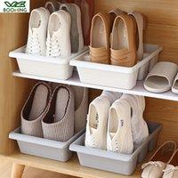 Accueil WBBOOMING Trois Chaussures en plastique Espace Racks chaussures Boîte de rangement japonais Saver Organisateur Armoire Armoires Creative Container Y1113