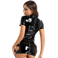 Womens Sexy Ladies Look Look Costume Pole Cocktail Pelle Cocktail Bre Bre Bre Dress Mini Dress PVC Latex Manica corta posteriore con cerniera Clubwear