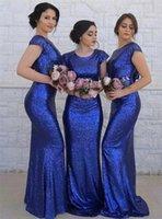Bule Shiny Long Mermaid Bridemaid Dresses 2020 Jewel Short Leves Sequins 님의 하녀 웨딩 게스트 드레스 웨딩 파티 가운 사용자 정의