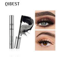QIBEST maquiagem preta Mascara 4D Curling Grosso Volume Mascara cílios Maquiagem à prova d'água Mascara Alongamento Olhos Cosmetics