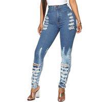 El más nuevo de las mujeres calientes estiramiento rasgado apenada flaco de cintura alta Pantalones vaqueros elásticos del agujero del novio pantalones vaqueros