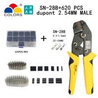 SN-28B DuPont Crimp Werkzeug 0.3-1.5mm2 / 22-15awg 620pcs 2,54mm DuPont-Kabel Jumper-Draht-Pin-Header-Gehäuse-Anschlüsse Klemmkit-Werkzeug Y200321