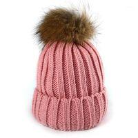 Bere / Kafatası Kapaklar Kadınlar Kış Rakun Kürk Gerçek Topu Kalın Sıcak Örgü Kap On Renkler Şapka1