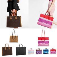 Pariser Mode Frauen Totes Große Einkaufstaschen Krawattenfarbstoff Leinwand Eine Schulter Crossbody Taschen Geldbörse Kupplungsbeutel Hohe Qualität Leder Handtaschen