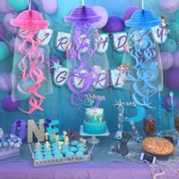 Mermaid Party Hanging Jellyfish Ornament Paper Garland Banner Little Mermaid Party Decoration Supplies Kids Birthday Baby Shower