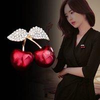Crystal Rhinestone Женщины Брошь Ювелирные Изделия Золото Красная Вишня Леди Броши Сплава Мода PIN-код Горячие Продажи 4 6xa J2B