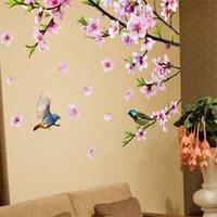 Дерево ветви цветы стены наклейки DIY птицы наклейки животных на стене для гостиной спальня кухня украшения дома 201201