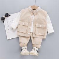 2020 الخريف الأطفال البدلة وسيم الطفل الملابس مجموعة الأزياء الأدوات سترة طويلة الأكمام سترة السراويل ثلاث قطع دعوى كيد collactx1019
