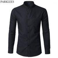 Men's Casual Shirts Men's Oxford Slim Fit Dress Shirt Brand Mandarin Collar Long Sleeve Chemise Homme Buisness Office With Pocket Black