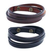 Bracelet en cuir multicouche brun brun rétro bracelets simples bracelets bracelets hommes femmes hommes bijoux de mode et cadeau sableux
