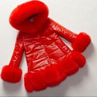 Mädchen-Leder-Pelz-Kragen-Jacke 2020 Herbst-Winter-Kinder Princess PU-Leder-Mode Mäntel Kinder Kapuzen-Eindickung Warm Parkas