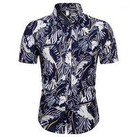 Erkek Casual Gömlek erkek Son Moda Yaz Hawaii Plaj Baskılı Kısa Kollu Gömlek Avrupa ve Amerikan Boyutları Erkek Elbise Shi