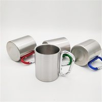 Auf Lager! Großhandel - 220ml Outdoor Edelstahl Kaffeetasse Reise Camping Cup Carabiner Aluminium Haken Doppel Wandlager Ausrüstung 115 P2