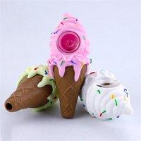 4.3 인치 아이스크림 디자인 마른 허브 실리콘 파이프에 대 한 OPP 가방을 가진 손 파이프 유리 봉