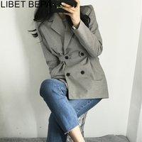 Autumn Winter Fashion Blazer Jacket Women Suit Plaid Long Sleeve Slit Elegant Double Breasted Outerwear Female Ladies JK152 201008