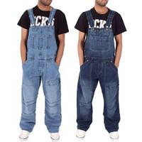 2020 Männer One Piece Ganzkörperstrumpfhose beiläufige lose breite Bein-Slim Taschen Gesamt-Denim-Overall zerrissene Jeans-Baggy