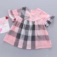 3 لون أطفال مصمم ملابس الفتيات البيج منقوشة الأميرة اللباس 100٪ قطن اللباس 2021 ملابس الأطفال طفلة ملابس B202