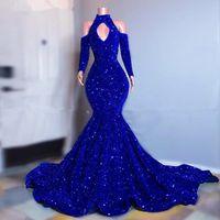 Talla grande Royal Blue Sparkly Lechuga Vestidos de fiesta Mangas largas Sirena Vestidos de noche 2021 Elegante Vestido formal de mujeres