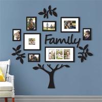 3D DIY acrílico adesivos de parede removível moldura árvore decalques de parede de árvore posters adesivos de parede flor mural arte imagem home decor t200111
