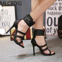 MLCRIYG Летнее Новый продукт тканый T-образный с персонажем открытый носок тонкий супер высокий каблук женские римские сандалии женщин сандалии