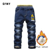 GFMY Brand 2019 Leisure winter Plus velvet Boys Jeans 3year -10year Keep warm Straight type Children's Pants