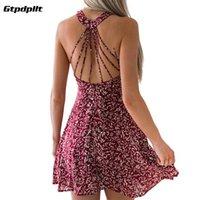 Повседневные платья Gtpdpllt Летнее платье Женщины Boho Sexy Mini Pay Out Out Print Halter Beach Backbloet Vestidos
