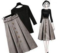 اثنين من قطعة اللباس ichoix 2021 الشتاء تنورة السيدات أنيقة مجموعة قمم محبوك و منقوشة الزي الكورية نمط المرأة 2 الملابس 1